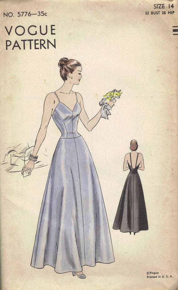 1940s Vintage Vogue Sewing Pattern Evening Slip Lingerie Nightgown Dress Camisole Top Flared Skirt Bust 32 Rare