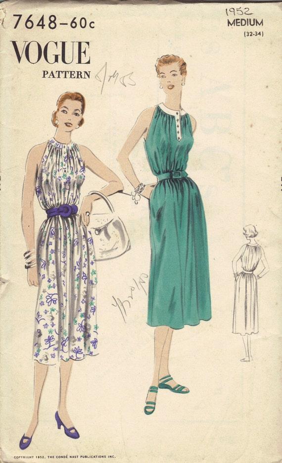 Vintage Vogue Sewing Pattern 1950s Sundress Spring Summer Dress Halter Top Loose Fit Easy to Sew Medium Bust 34