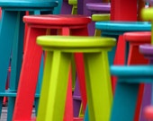 Mallory Pier Key West Florida Colorful Tables Stools Round Digital Photo Photograph Photography Teal Yellow Purple 11x14 8x10 5x7