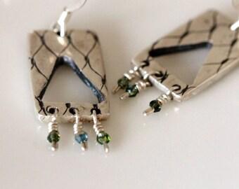 Handcrafted silver dangle earrings, tassel earrings, fine silver, artisan jewelry, swarovski crystals, handmade jewelry by girlthree