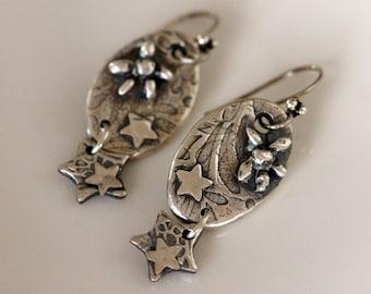handmade fine silver starfish and stars dangle earrings, metalwork jewelry by girlthree