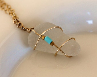 Cape Cod beach glass on delicate 14k gold filled chain with genuine nacosari turquoise, gold wire wrapped sea glass, handmade by girlthree