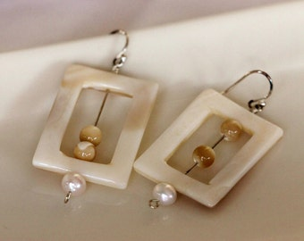 Large Square Mother of Pearl Earrings w / Cultured Freshwater Pearls / Big Bold Earrings / Large Statement Earrings / Handmade by Girlthree