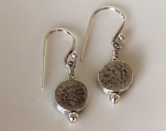Artisan fine silver lentil bead dangle earrings / eco friendly / urban rustic / metalwork jewelry / simple design / minimalist / girlthree