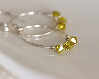 Swarovski crystal hoops / yellow earrings / sterling silver / wire wrapped jewelry by girlthree
