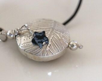 large silver bead pendant on black leather cord / fine artisan jewelry / urban rustic / metalwork jewelry by girlthree