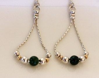 jade earrings | teardrop hoop earrings | jade sterling silver hoop earrings | artisan silver jewelry | modern handmade jewelry by girlthree