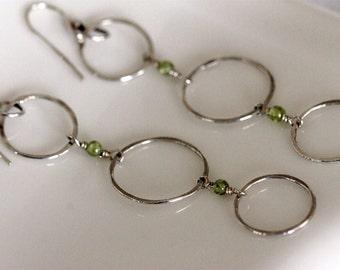 fine silver triple hoop long dangle earrings w / peridot beads - august birthstone - handmade jewelry by girlthree