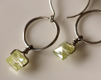 small silver hoop earrings with lemon yellow square cubic zirconia's, hammered silver dangle earrings, handmade earrings by girlthree