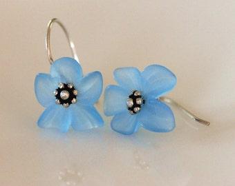 forget me not earrings | sky blue flower earrings | floral dangle earrings | lightweight earrings | sterling silver | handmade by girlthree