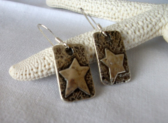 silver star earrings - handmade silver stars- artisan silver star earrings- silver dangle earrings - wearable art - jewelery by girlthree