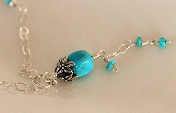 Genuine turquoise Y necklace  | silver Tassel necklace | Sterling silver Chain | December birthstone | Handmade Designer Jewelry Girlthree