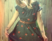 Flirty 1970's Floral and Polka Dot Dress
