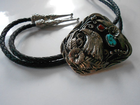 Navajo Coral & Turquoise Eagle Head Bolo Tie
