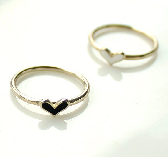 Heart stacking rings set- tiny, simple