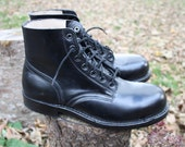 Vintage Army Boots / Black Leather / Steel Toe Military Boots / Army Parade Boots / men women teen