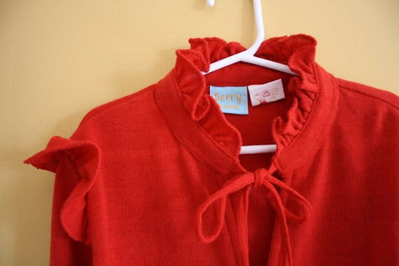 Vintage ruffled red sweater Girls size 12