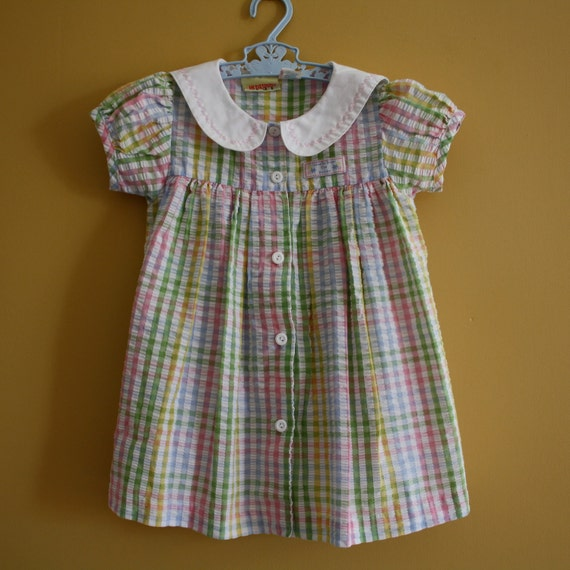 Vintage rainbow checked pastel dress / peter pan collar /  Baby Girl Toddler Size 3T
