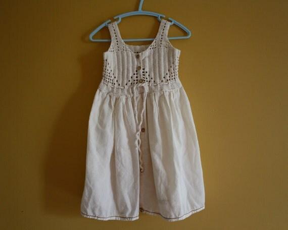 Vintage peasant dress hippie boho handmade 6-9 months
