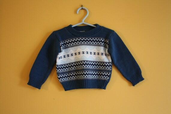 Vintage teal blue patterned sweater / hipster ski sweater / baby boy 12-24 months