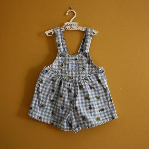 Vintage OshKosh shorts / romper overalls shortalls /  baby girl size 12 to 18 months