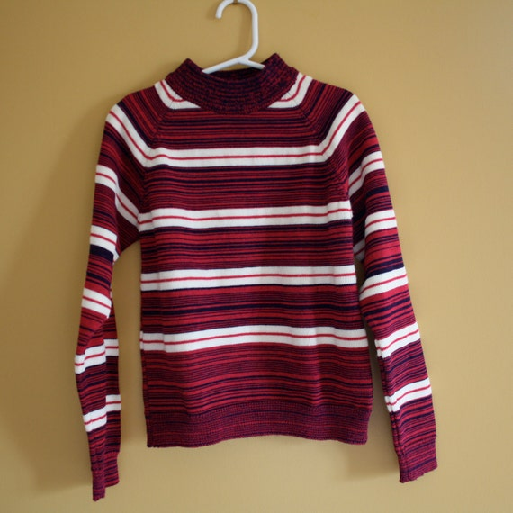 Girl's Vintage sweater /  Retro pink and purple stripes / Girls Size 10