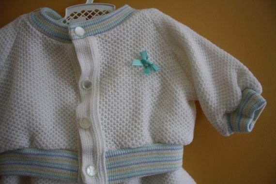 SALE - Vintage baby layette / waffle knit sweater and pants set  / newborn baby boy