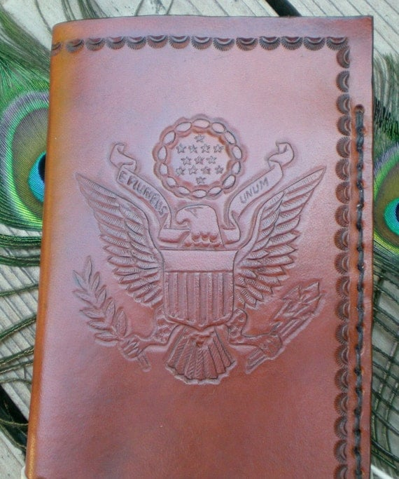 handmade leather passport cover/ tooled leather