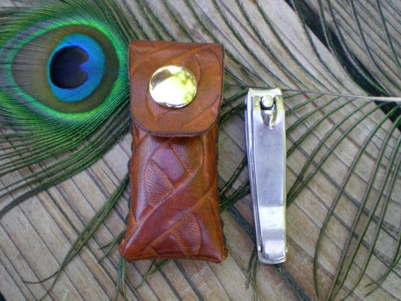 handmade leather nail clipper case /  tooled leather