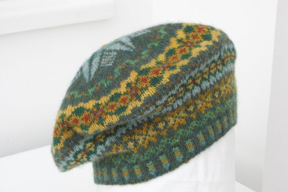 handknitted Fairisle beret in 100 per cent wool