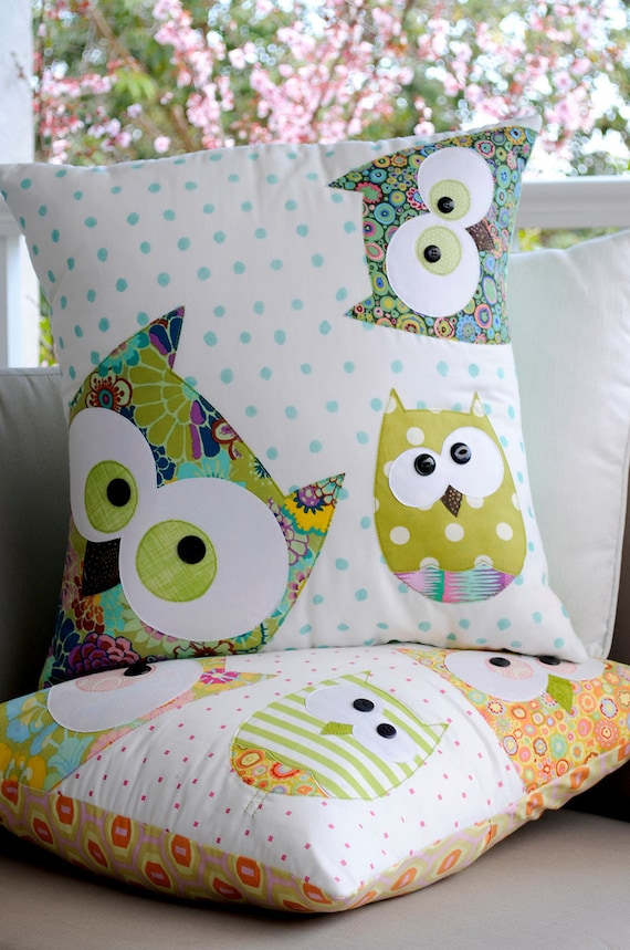 A Family of Owls Applique Cushion PDF Pattern - instant download