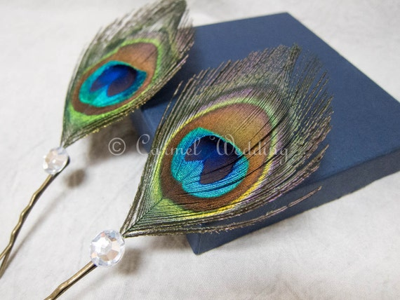 Peacock Feather Bobby Pins Hair Piece Peacock Feather Bridesmaids gift (Set of 2)