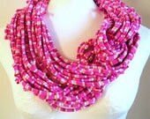 Vivacious Hot Pink Infinity Scarf Pantone Fall Fashion Color Raspberry Red White Yellow Stripes Cowl Upcycled Eco Friendly Clothing