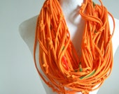 Tangerine Infinity Scarf Green Red Black Screen Print Accents