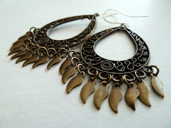 SALE ! Antique Bronze Ornate Drop Earrings, Rustic Tribal Boho Chandelier Earrings, Antique Bronze Filigree Earrings, Brown Ethnic Earrings