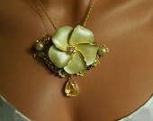 Sunshine Yellow  Flower Necklace, Very Elegant Repurposed 1950's Flowers