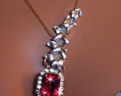 Red Drop Necklace Dressy Hollywood Glamour Wedding
