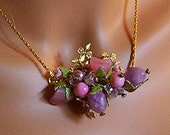 Amethyst Color and Pink Necklace Earrings Collage Statement repurposed Vintage Jewelry