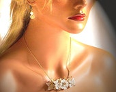 Bride Necklace, Handmade, OOAK, Vintage New White Flowers Necklace