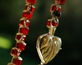 Gorgeous Deep Red Crystal Faceted  Beaded Lariat Necklace Awesome style W S S Locket