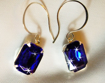 Sapphire colored stones on Sterling Silver French Goddess Wires  Dressy Elegant,Causal too
