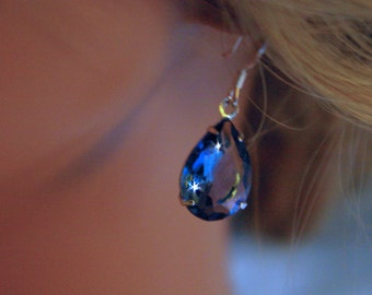 Montana Blue Teardrop Earrings wear with jeans Or Dress