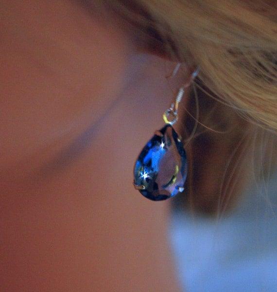 Montana Blue Teardrop Earrings wear with jeans Or Dress