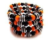 Black and Orange Memory Wire Bracelet - Wrap Bracelet - Cuff Bracelet - Glass Beaded