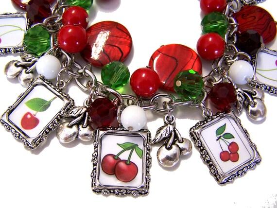 CHERRIES Themed Altered Art Charm Bracelet Handmade Glass Beaded