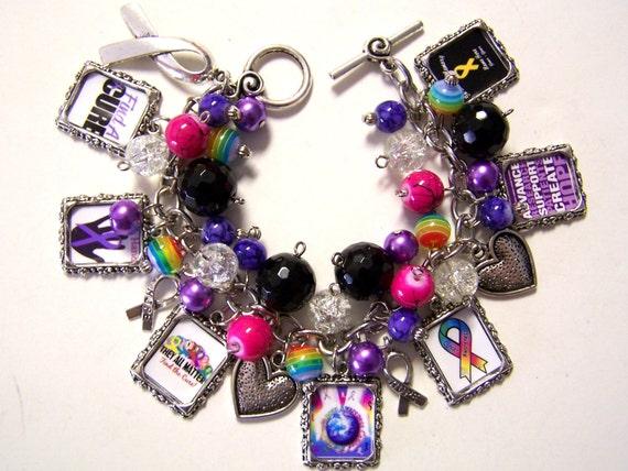 CANCER AWARENESS Altered Art Charm Bracelet Handmade Glass Beaded