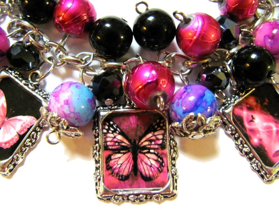 Pink Butterfly Altered Art Charm Bracelet Shades of Pink and Black Beaded