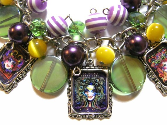 CLEARANCE Mardi Gras Poster Charm Bracelet Glass Beaded Purple Green Yellow