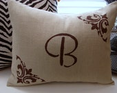 """New 12"""" X 16"""" hand painted initial tan linen cotton decorative pillow cover, monogram, letter of your choice.-throw pillow-accent pillow"""