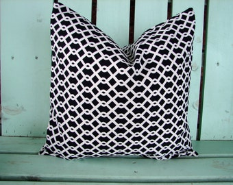 """Sale 16"""" X 16"""" outdoor fabric  Black and white  Contemporary waverly """"trellis""""  Decorative pillow cover-throw pillow-accent pillow"""